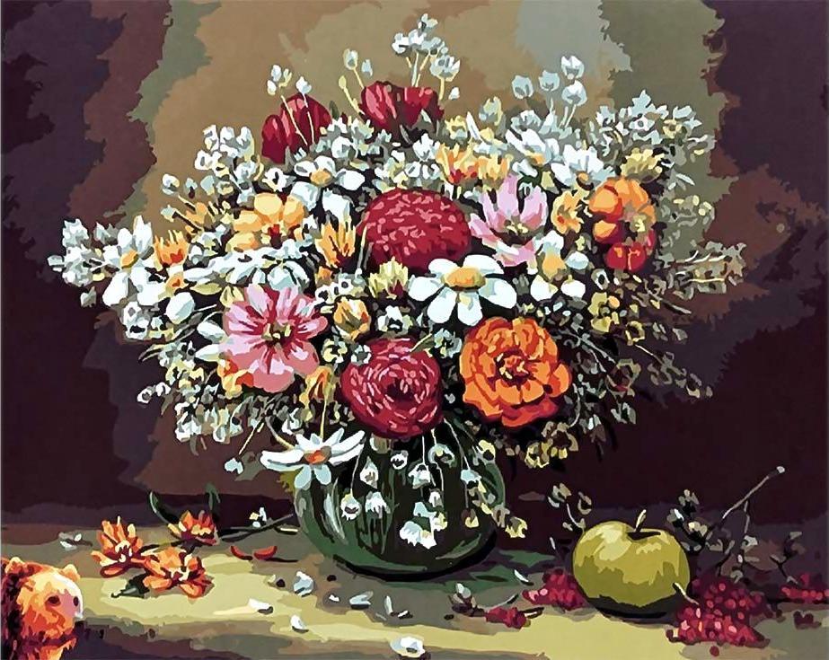 Картина по номерам «Натюрморт с яблоком»Paintboy (Premium)<br><br><br>Артикул: GX3579<br>Основа: Холст<br>Сложность: средние<br>Размер: 40x50 см<br>Количество цветов: 26<br>Техника рисования: Без смешивания красок