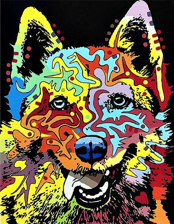 Картина по номерам «Цветная овчарка» Дина РуссоPaintboy (Premium)<br><br><br>Артикул: GX3581<br>Основа: Холст<br>Сложность: средние<br>Размер: 40x50 см<br>Количество цветов: 24<br>Техника рисования: Без смешивания красок