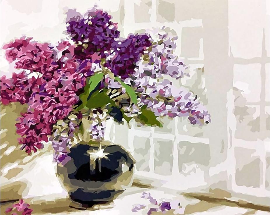 Картина по номерам «Сирень» Ричарда МакнейлаPaintboy (Premium)<br><br><br>Артикул: GX3590<br>Основа: Холст<br>Сложность: средние<br>Размер: 40x50 см<br>Количество цветов: 25<br>Техника рисования: Без смешивания красок