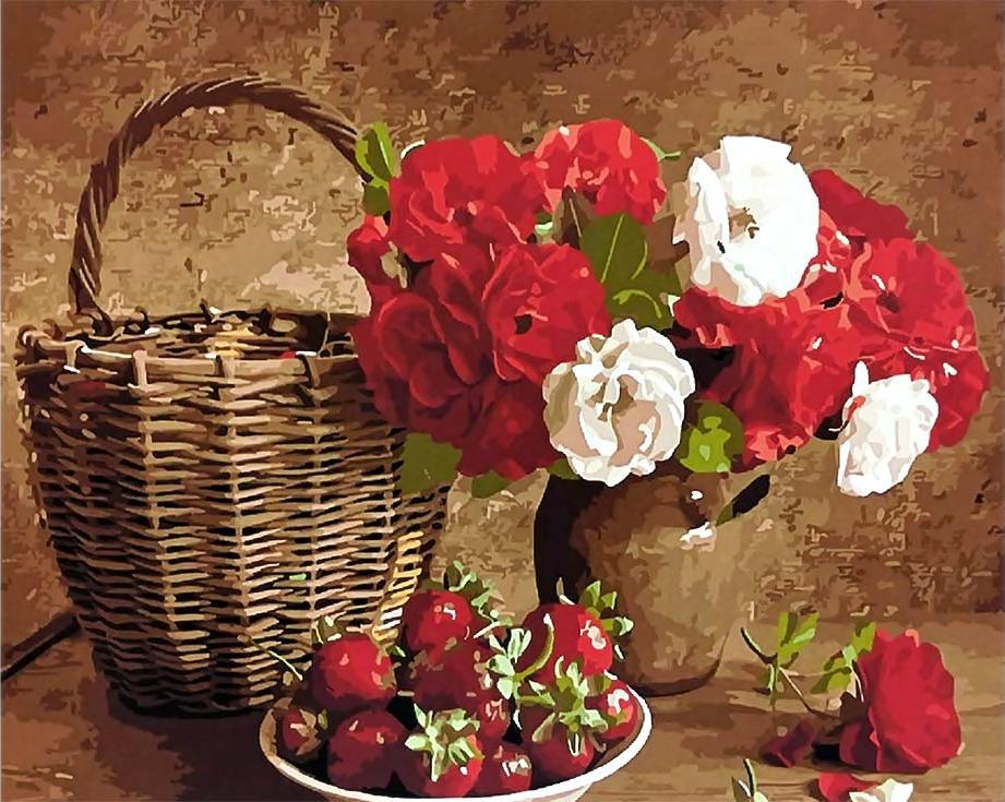 Картина по номерам «Натюрморт в красных тонах»Paintboy (Premium)<br><br><br>Артикул: GX3591<br>Основа: Холст<br>Сложность: средние<br>Размер: 40x50 см<br>Количество цветов: 25<br>Техника рисования: Без смешивания красок