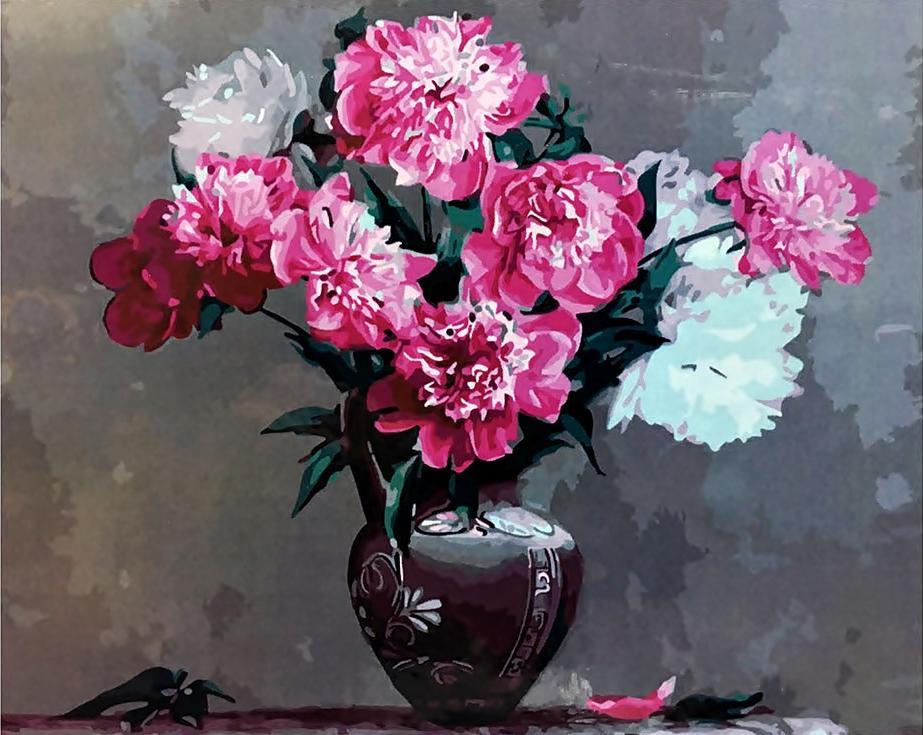 «Пионы в греческой вазе» Игоря БузинаPaintboy (Premium)<br><br><br>Артикул: GX3592<br>Основа: Холст<br>Сложность: средние<br>Размер: 40x50<br>Количество цветов: 26<br>Техника рисования: Без смешивания красок