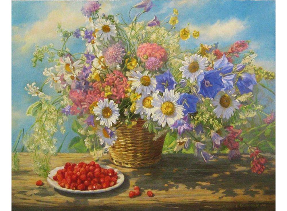 Картина по номерам «Полевые цветы» Екатерины КалиновскойPaintboy (Premium)<br><br><br>Артикул: GX3635<br>Основа: Холст<br>Сложность: сложные<br>Размер: 40x50 см<br>Количество цветов: 30<br>Техника рисования: Без смешивания красок