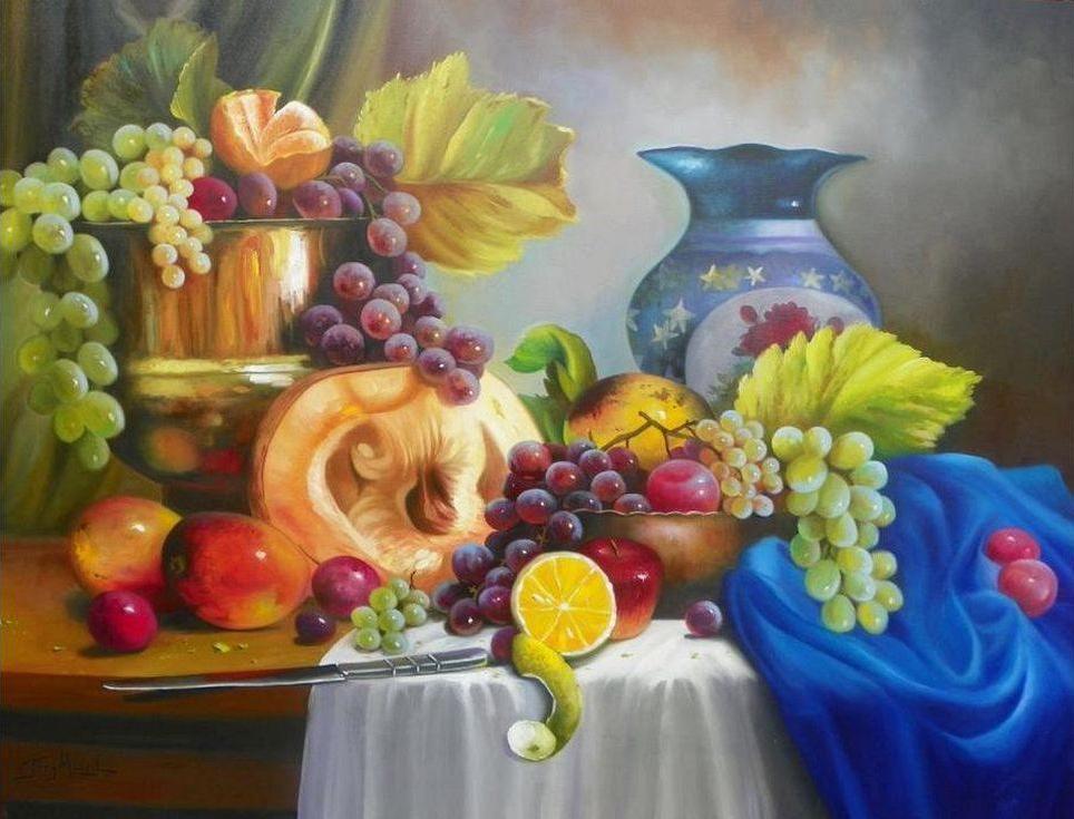 Картина по номерам «Фруктовый натюрморт»Paintboy (Premium)<br><br><br>Артикул: GX9168<br>Основа: Холст<br>Сложность: сложные<br>Размер: 40x50 см<br>Количество цветов: 29<br>Техника рисования: Без смешивания красок