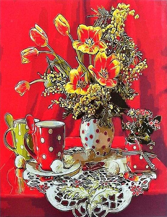 Картина по номерам «Натюрморт в красных тонах»Paintboy (Premium)<br><br><br>Артикул: GX9262<br>Основа: Холст<br>Сложность: сложные<br>Размер: 40x50 см<br>Количество цветов: 25<br>Техника рисования: Без смешивания красок