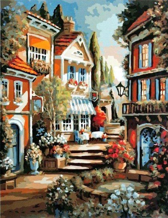 «Цветочный переулок»Paintboy (Premium)<br><br><br>Артикул: GX9283<br>Основа: Холст<br>Сложность: средние<br>Размер: 40x50<br>Количество цветов: 27<br>Техника рисования: Без смешивания красок