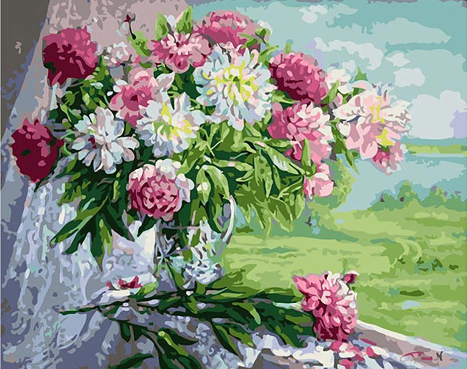 Картина по номерам «Пионы» Жанны СидоренкоPaintboy (Premium)<br><br><br>Артикул: GX9405<br>Основа: Холст<br>Сложность: средние<br>Размер: 40x50 см<br>Количество цветов: 25<br>Техника рисования: Без смешивания красок