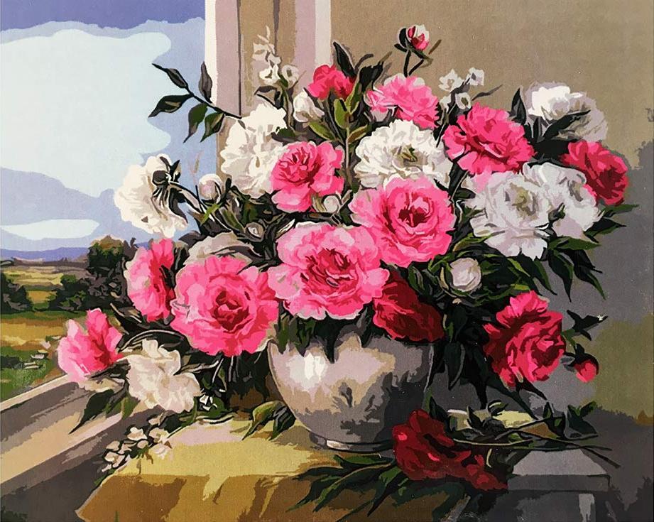 Картина по номерам «Пионы у окна» Анки БулгаруРаскраски по номерам<br><br>