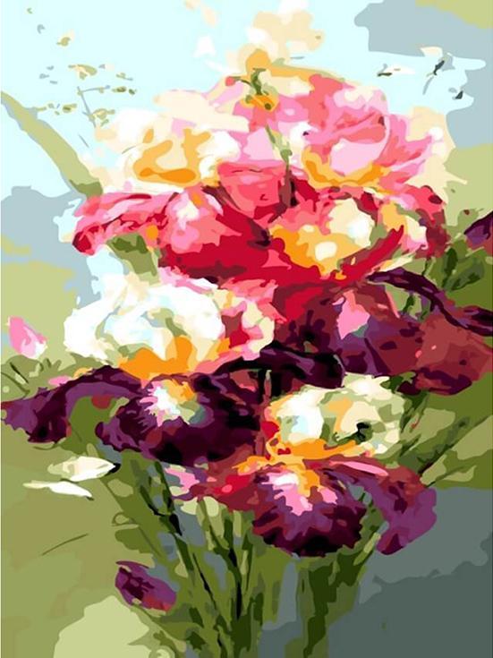 «Цветущие ирисы»Цветной (Premium)<br><br><br>Артикул: ME1027_Z<br>Основа: Цветной холст<br>Сложность: сложные<br>Размер: 30x40 см<br>Количество цветов: 25<br>Техника рисования: Без смешивания красок