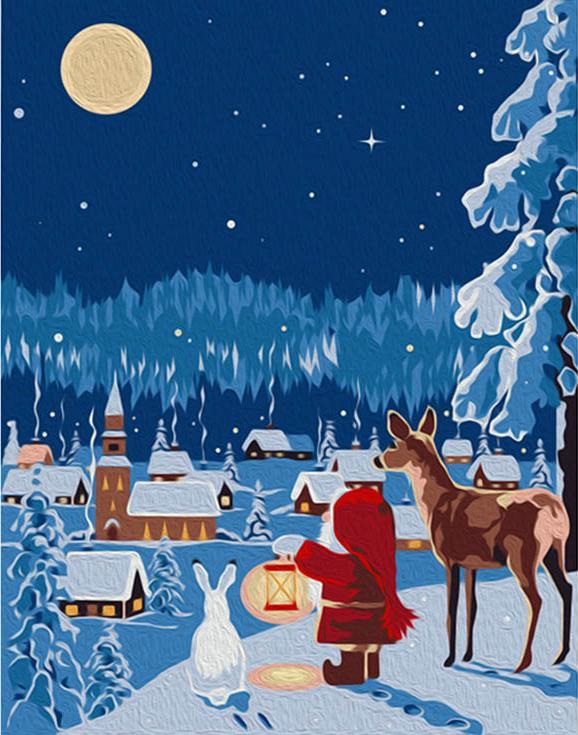 """«Новогодняя ночь» (мини-раскраска)Мини-раскраска<br>Картина по номерам раскрашивается с применением техники смешивания красок.<br> <br> Картины по номерам """"Артвентура"""" в компактном мини-размере. Российский производитель картин премиум-класса креативно реализовал идею и пожелания многих поклонников раскрасок по...<br><br>Артикул: MINI16130053<br>Основа: Картон<br>Сложность: очень сложные<br>Размер: 16,5x13 см<br>Количество цветов: 15<br>Техника рисования: Со смешиванием красок"""