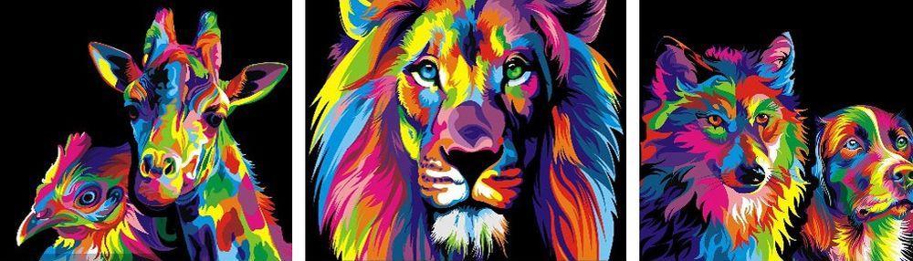 Картина по номерам «Радужные звери» Ваю РомдониPaintboy (Premium)<br><br><br>Артикул: PX5099<br>Основа: Холст<br>Сложность: средние<br>Размер: 3 шт. 40x50 см<br>Количество цветов: 23<br>Техника рисования: Без смешивания красок