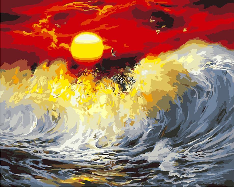 «Багряный закат»Раскраски по номерам Paintboy (Original)<br><br><br>Артикул: GX9990_R<br>Основа: Холст<br>Сложность: сложные<br>Размер: 40x50 см<br>Количество цветов: 25<br>Техника рисования: Без смешивания красок