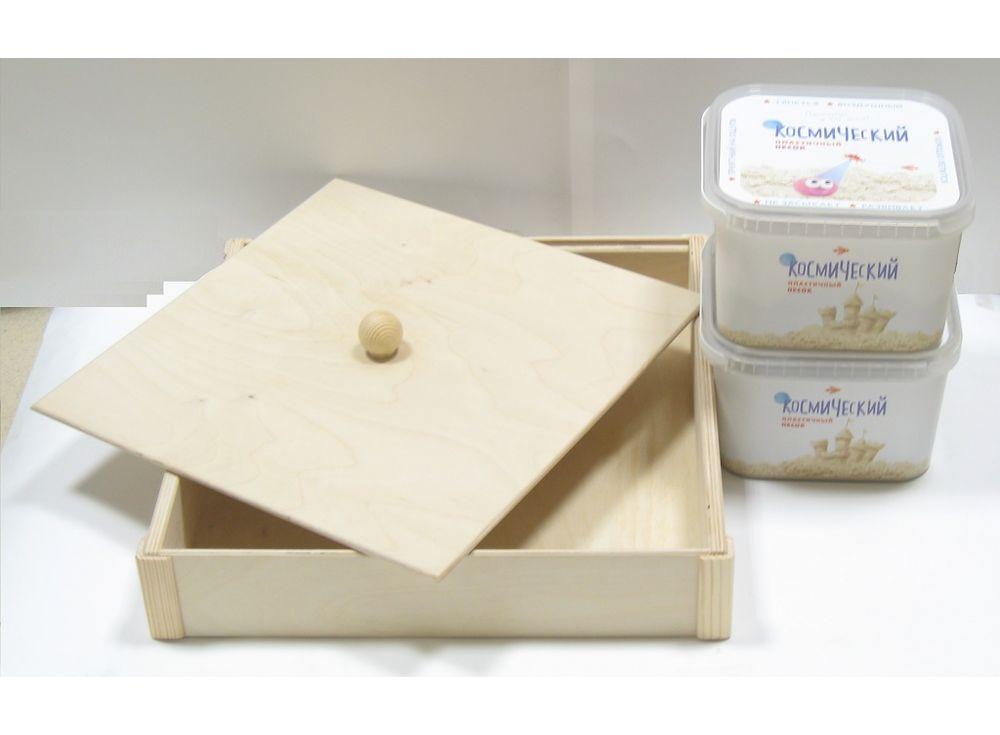 Набор космического песка 6 кг зеленого цвета (2х3 кг + деревянная песочница)