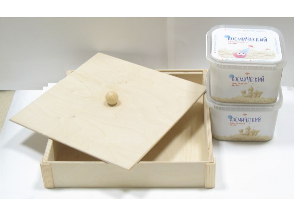 Набор космического песка 6 кг розового цвета (2х3 кг + деревянная песочница)