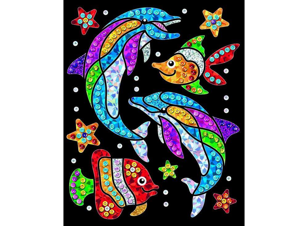 Картинка из блесток с фольгой «Дельфины»