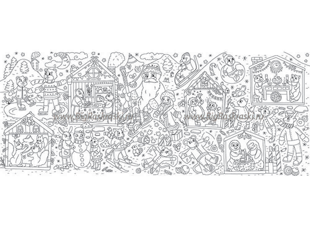 Плакат-раскраска «Новый год в лесу»Плакаты-раскраски<br>Отличная идея для совместного творческого досуга - раскрашивание плакатов-раскрасок. Большой размер, четкие контуры, продуманные сюжеты и качественная бумага - это именно об этих новинках среди раскрасок. Подбирайте интересный сюжет в зависимости от возра...<br><br>Артикул: 150407<br>Размер: 60x150 см<br>Материал: Плотная бумага с покрытием
