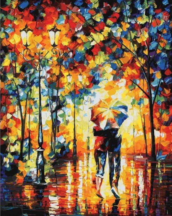 Картина по номерам «Под одним зонтом» Леонида АфремоваКартины по номерам Белоснежка<br><br><br>Артикул: 180-AB<br>Основа: Холст<br>Сложность: очень сложные<br>Размер: 40x50 см<br>Количество цветов: 37<br>Техника рисования: Без смешивания красок