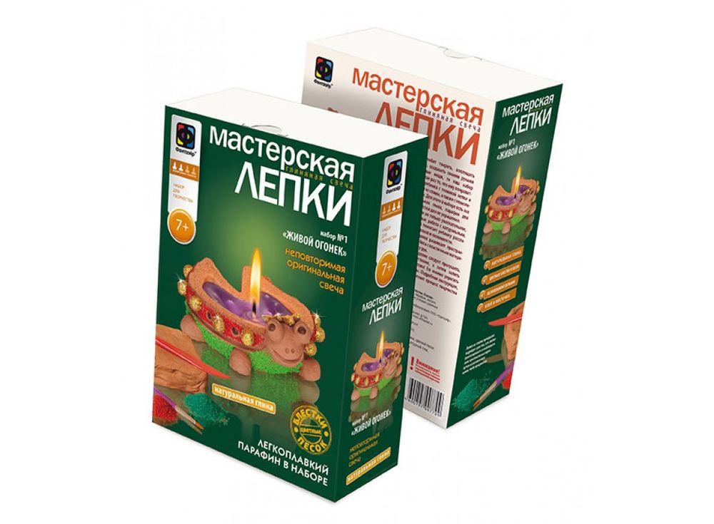 Глиняная свеча «Живой огонек»Глиняные свечи<br><br><br>Артикул: 217021<br>Размер упаковки: 22,5x15,3x7,5 см<br>Возраст: от 7 лет