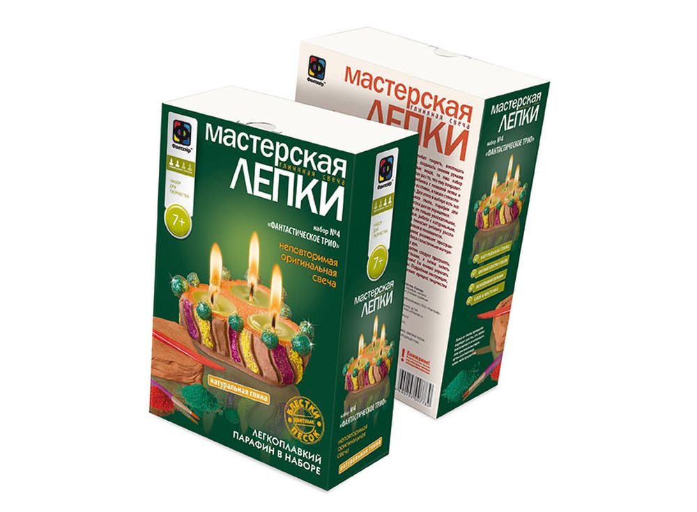 Глиняная свеча «Фантастическое трио»Глиняные свечи<br><br><br>Артикул: 217024<br>Размер упаковки: 22,5x15,3x7,5 см<br>Возраст: от 7 лет