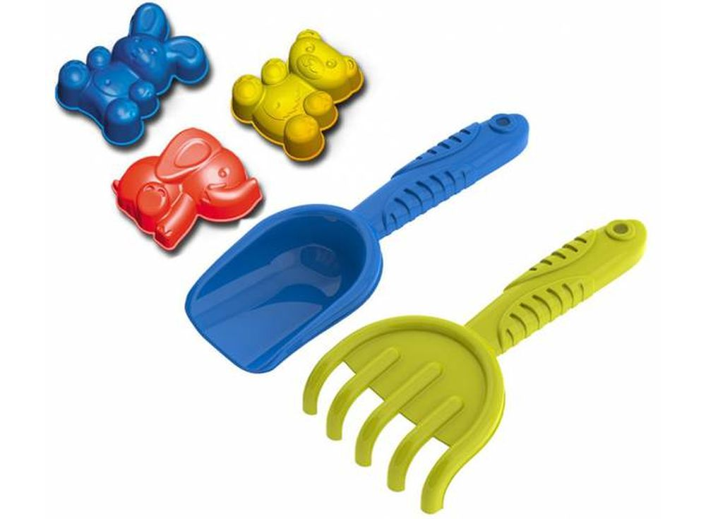Набор для игры с песком №90 (формочки зверята+грабельки+лопатка)Аксессуары для космического песка<br><br><br>Артикул: 2603