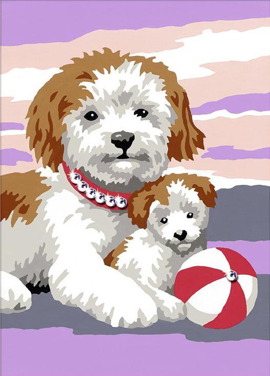 «Собака со щенком»Раскраски по номерам Ravensburger<br><br><br>Артикул: 27961<br>Основа: Картон<br>Сложность: легкие<br>Размер: 13x18 см<br>Количество цветов: 5-10<br>Техника рисования: Без смешивания красок