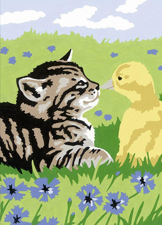 Картина по номерам «Дружба»Раскраски по номерам Ravensburger<br><br><br>Артикул: 27976<br>Основа: Картон<br>Сложность: легкие<br>Размер: 13x18 см<br>Количество цветов: 5-10<br>Техника рисования: Без смешивания красок