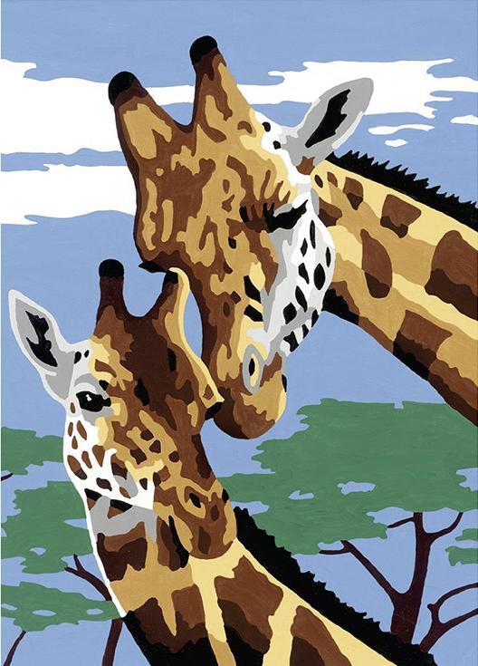 Картина по номерам «Веселые жирафы»Раскраски по номерам Ravensburger<br><br><br>Артикул: 27977<br>Основа: Картон<br>Сложность: легкие<br>Размер: 13x18 см<br>Количество цветов: 10<br>Техника рисования: Без смешивания красок