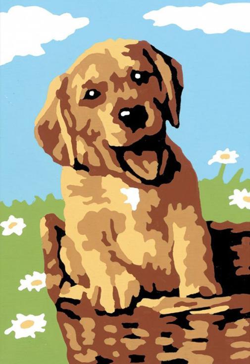 Картина по номерам «Щенок в корзине»Раскраски по номерам Ravensburger<br><br><br>Артикул: 29532<br>Основа: Картон<br>Сложность: легкие<br>Размер: 8,5x12 см<br>Количество цветов: 5-10<br>Техника рисования: Без смешивания красок