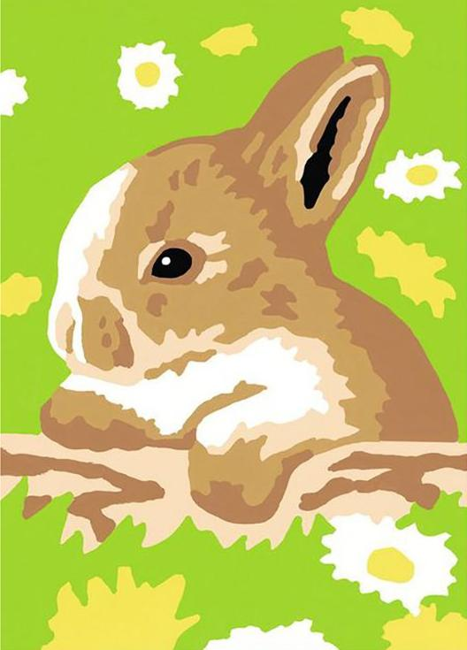 «Кролик в ромашках»Раскраски по номерам Ravensburger<br><br><br>Артикул: 29556<br>Основа: Картон<br>Сложность: легкие<br>Размер: 8,5x12 см<br>Количество цветов: 6<br>Техника рисования: Без смешивания красок