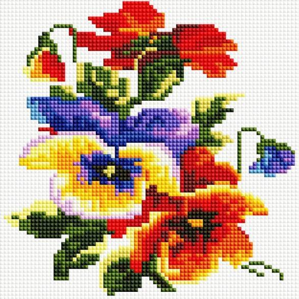 Алмазная вышивка «Цветочки»Алмазная вышивка фирмы Белоснежка<br><br><br>Артикул: 352-ST-S<br>Основа: Холст на подрамнике<br>Сложность: легкие<br>Размер: 20x20 см<br>Выкладка: Полная<br>Количество цветов: 19<br>Тип страз: Квадратные
