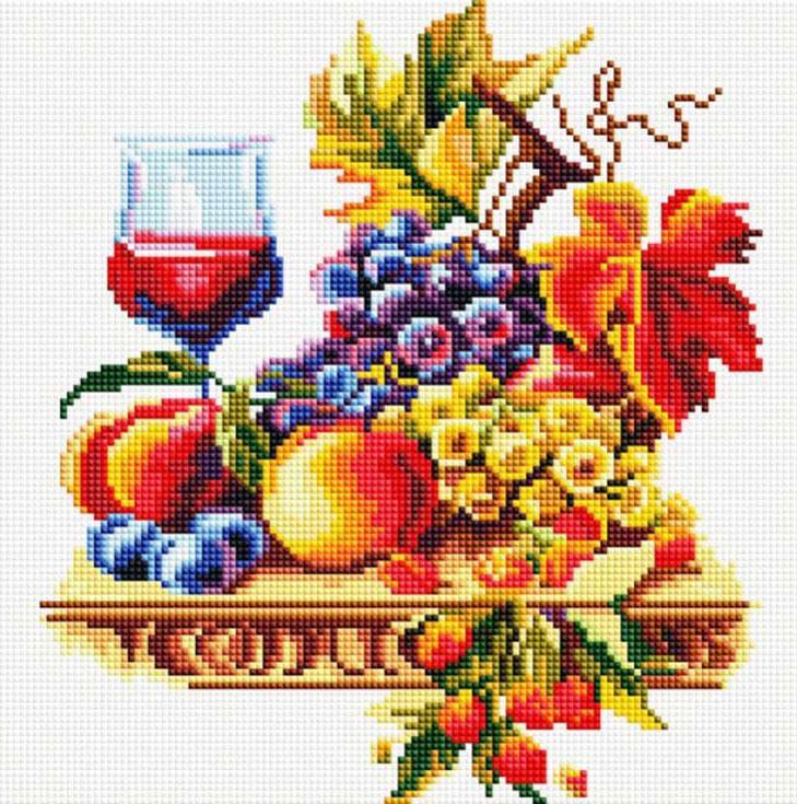 Стразы «Натюрморт с виноградом»Алмазная вышивка фирмы Белоснежка<br><br><br>Артикул: 355-ST-S<br>Основа: Холст на подрамнике<br>Сложность: средние<br>Размер: 30x30 см<br>Выкладка: Полная<br>Количество цветов: 32<br>Тип страз: Квадратные