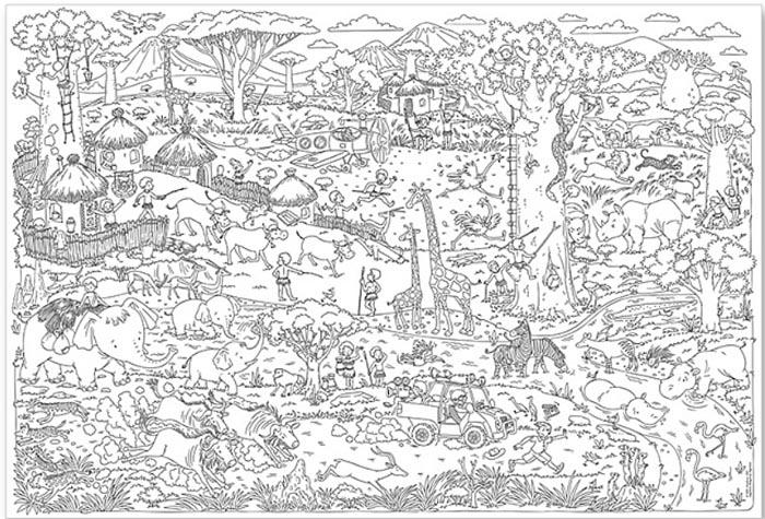 Карта-раскраска «Саванна»Карты-раскраски<br><br><br>Артикул: 4607177453620<br>Основа: Плотная офсетная бумага<br>Размер: 101x69 см