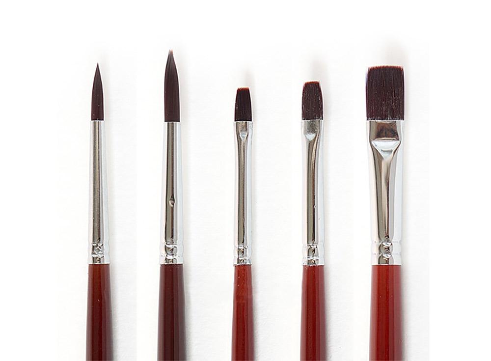 Набор синтетических кистей «Осень» (5 шт.)Аксессуары для рисования картин по номерам<br>Кисти Малевичъ (серия «Осень») - имеют синтетический ворс средней мягкости. Могут быть использованы для работы над картинами акриловыми или масляными красками.<br> <br> Длина ручки: 18 см <br> Обойма: цельнотянутая, с двойной обжимкой и антикоррозийным покрытие...<br><br>Артикул: 752050