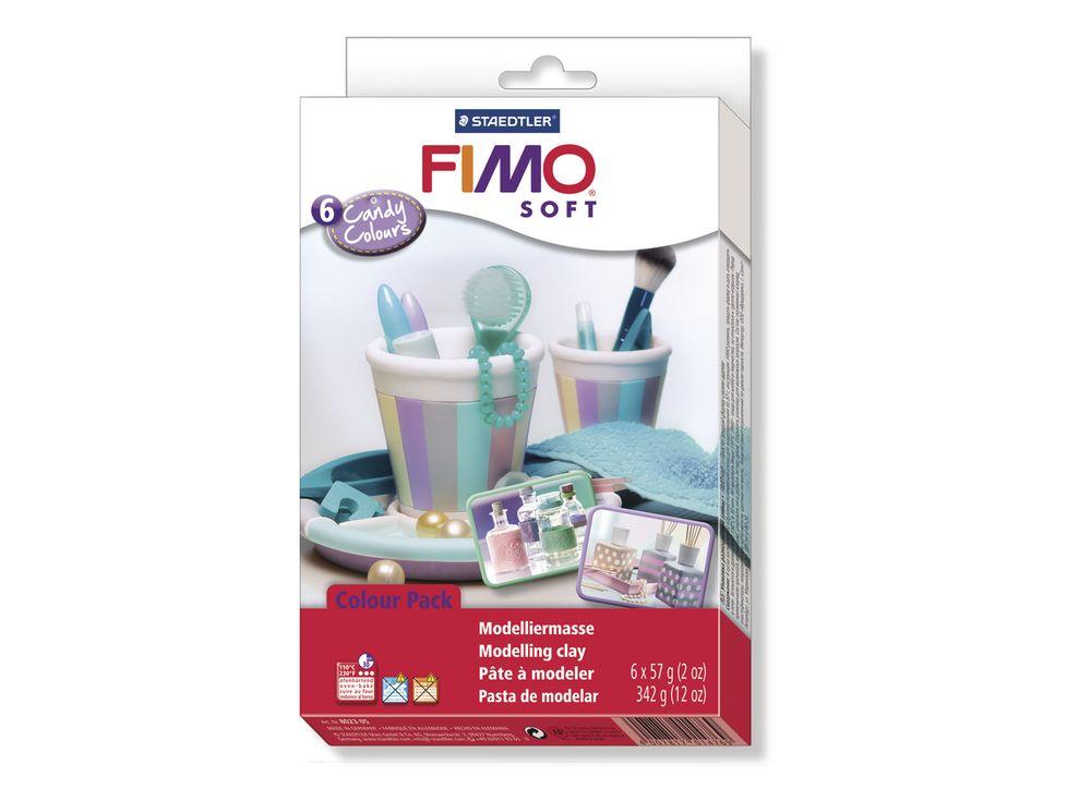 Набор FIMO Soft «Конфетные цвета» (6 цветов х 57 г)Полимерная глина FIMO<br>Полимерная глина FIMO Soft используется для изготовления украшений, бижутерии и предметов декора.<br> <br> Характеристика:<br><br>мягкая (мягче, чем FIMO Professional);<br>хорошо держит форму, плотность глины позволяет тщательно проработать мельчайшие подробности...<br><br>Артикул: 8023 05<br>Вес: 57 г<br>Цвет: 6 блоков - белый, нежно-розовый, серый дельфин, ваниль, лиловый, мята<br>Серия: FIMO Soft