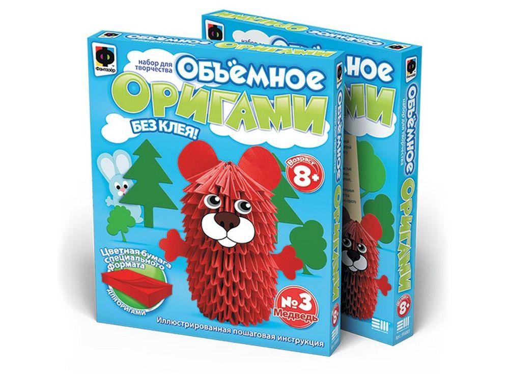 Объемное оригами «Медведь»Оригами<br><br><br>Артикул: 956003<br>Размер упаковки: 22x18,5x2,5 см<br>Возраст: от 8 лет