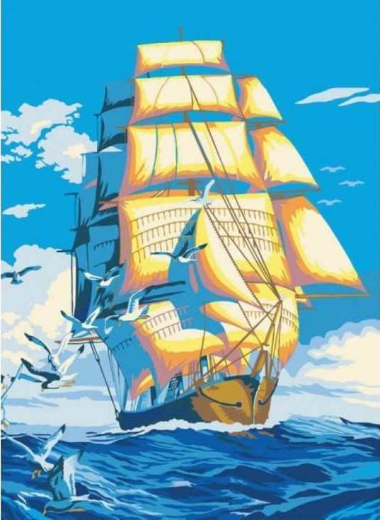 Картина по номерам «По волнам»Раскраски по номерам Paintboy (Original)<br><br><br>Артикул: CX3157_R<br>Основа: Холст<br>Сложность: легкие<br>Размер: 20x30 см<br>Количество цветов: 16<br>Техника рисования: Без смешивания красок