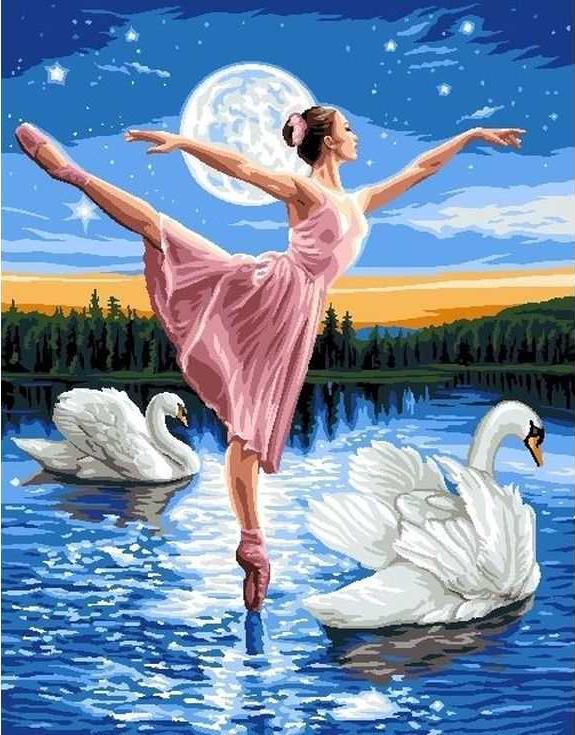 Картина по номерам «Лебединое озеро»Раскраски по номерам<br><br>