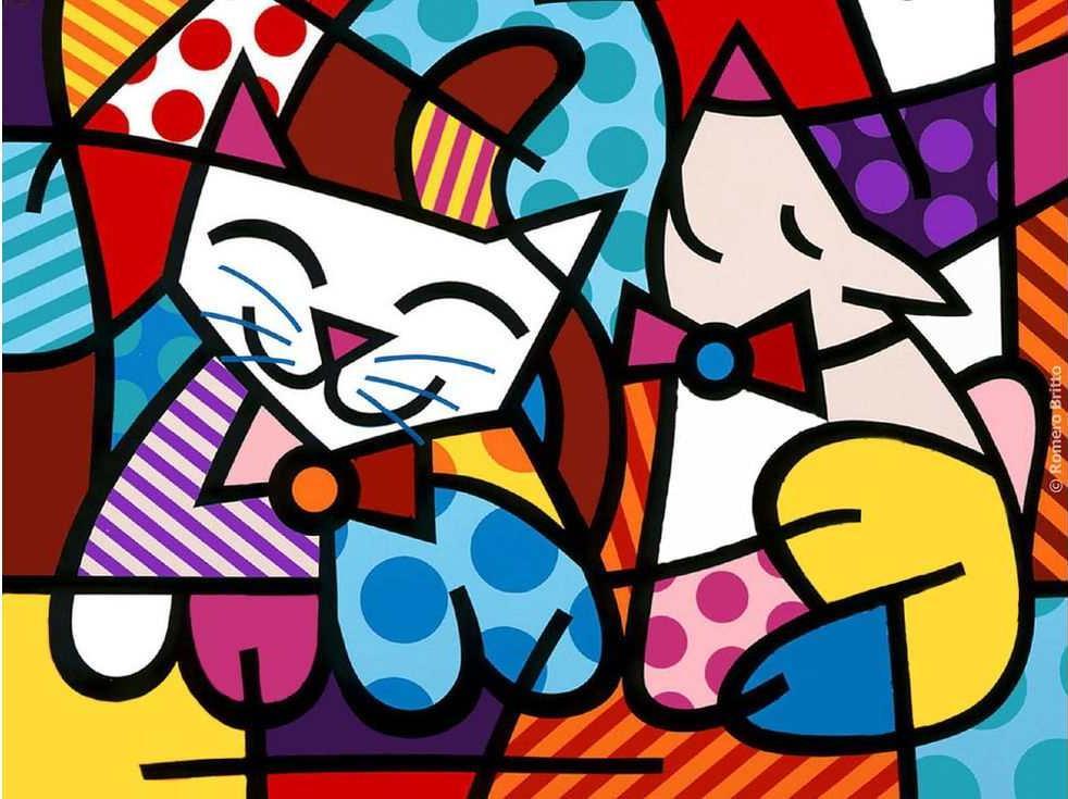 Картина по номерам «Счастливый кот и довольная собака» Ромеро БриттоРаскраски по номерам Paintboy (Original)<br><br><br>Артикул: DX5002_R<br>Основа: Холст<br>Сложность: легкие<br>Размер: 30x30 см<br>Количество цветов: 13<br>Техника рисования: Без смешивания красок