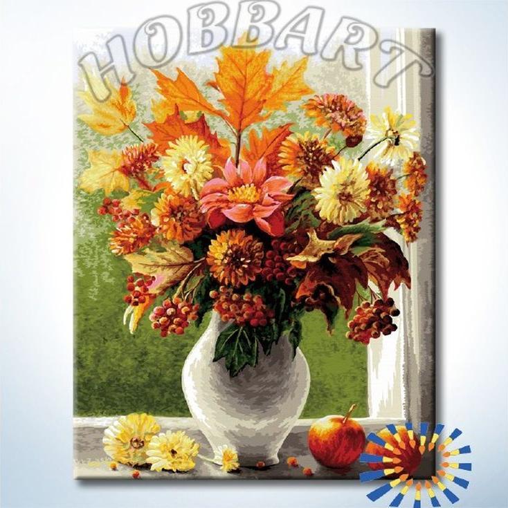 «Осенний букет»Hobbart<br><br><br>Артикул: DZ4050045<br>Основа: Холст<br>Сложность: очень сложные<br>Размер: 40x50 см<br>Количество цветов: 35<br>Техника рисования: Без смешивания красок