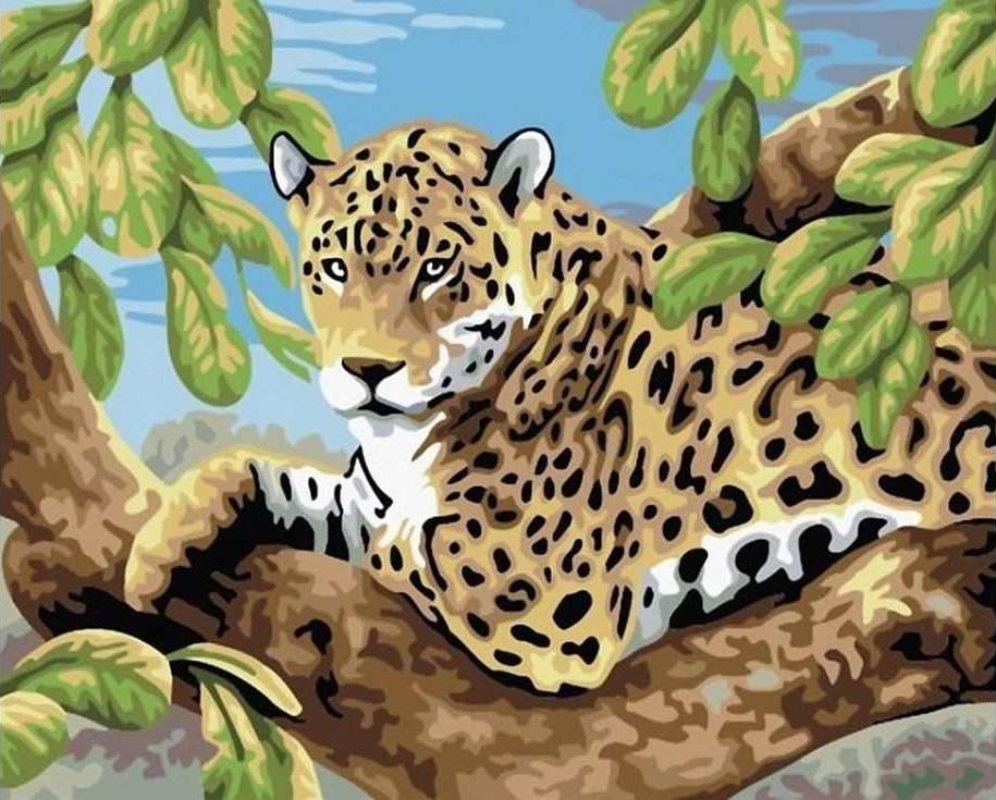 «Леопард на дереве»Paintboy (Premium)<br><br><br>Артикул: E083<br>Основа: Холст<br>Сложность: легкие<br>Размер: 30x40 см<br>Количество цветов: 19<br>Техника рисования: Без смешивания красок