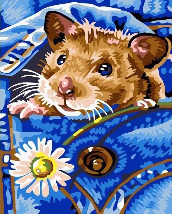 «Хомяк»Раскраски по номерам Paintboy (Original)<br><br><br>Артикул: EX5041_R<br>Основа: Холст<br>Сложность: легкие<br>Размер: 30x40 см<br>Количество цветов: 16<br>Техника рисования: Без смешивания красок