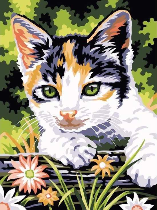 Картина по номерам «Котенок в цветах»Раскраски по номерам Paintboy (Original)<br><br><br>Артикул: EX5064_R<br>Основа: Холст<br>Сложность: легкие<br>Размер: 30x40 см<br>Количество цветов: 15<br>Техника рисования: Без смешивания красок