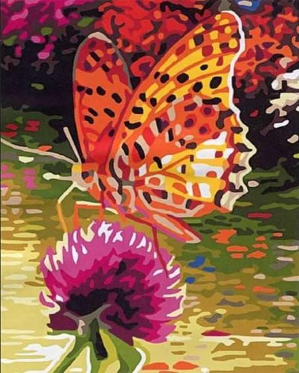 «Бабочка на клевере»Раскраски по номерам Paintboy (Original)<br><br><br>Артикул: EX5081_R<br>Основа: Холст<br>Сложность: средние<br>Размер: 30x40 см<br>Количество цветов: 22<br>Техника рисования: Без смешивания красок