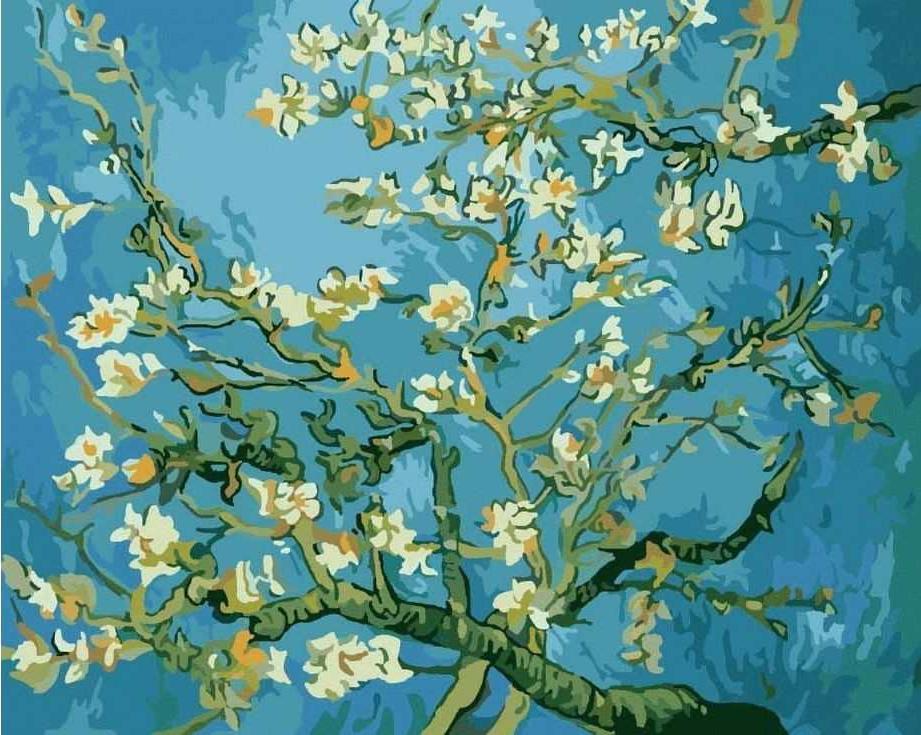 Картина по номерам «Цветы миндаля» Ван ГогаРаскраски по номерам Paintboy (Original)<br><br><br>Артикул: EX5216_R<br>Основа: Холст<br>Сложность: легкие<br>Размер: 30x40 см<br>Количество цветов: 18<br>Техника рисования: Без смешивания красок
