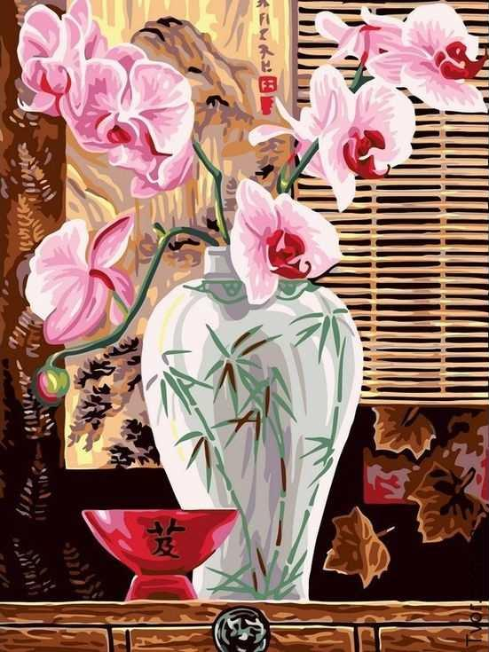«Восточные орхидеи»Paintboy (Premium)<br><br><br>Артикул: EX5260<br>Основа: Холст<br>Сложность: средние<br>Размер: 30x40 см<br>Количество цветов: 20<br>Техника рисования: Без смешивания красок