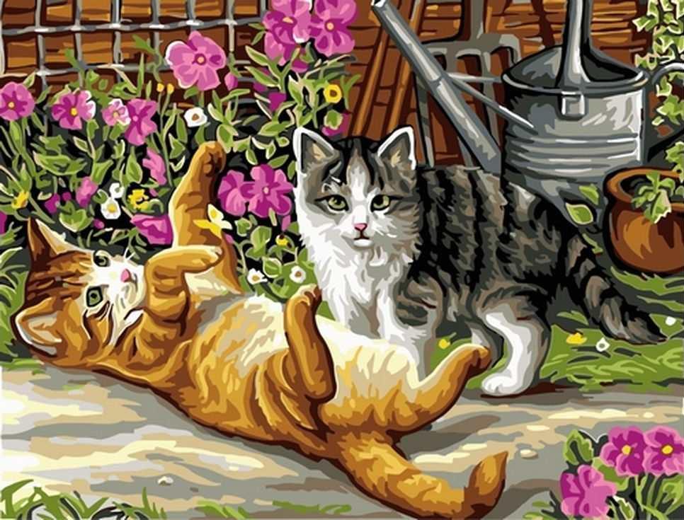 Картина по номерам «Котята в саду»Раскраски по номерам Paintboy (Original)<br><br><br>Артикул: EX5280_R<br>Основа: Холст<br>Сложность: средние<br>Размер: 30x40 см<br>Количество цветов: 22<br>Техника рисования: Без смешивания красок