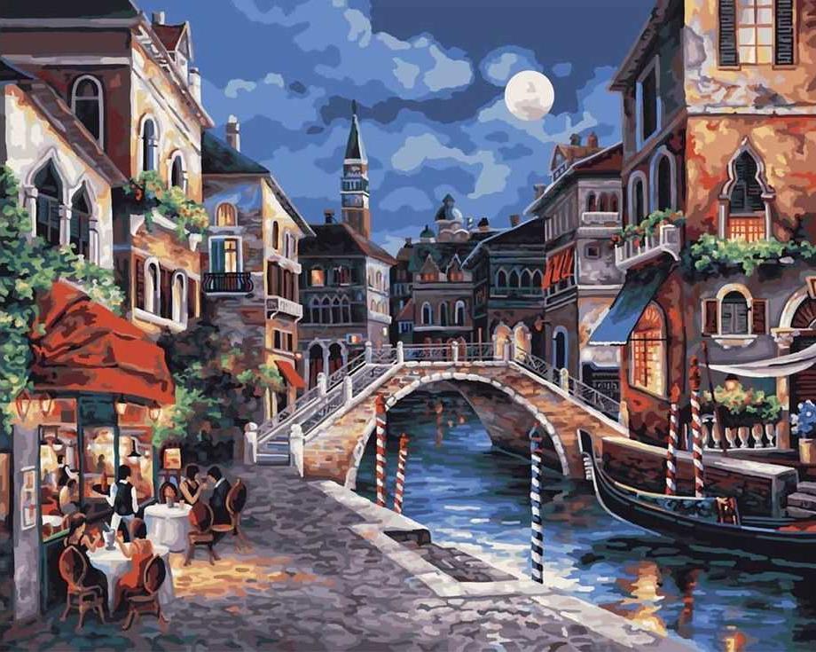 «Ночная Венеция» Джеймса ЛиРаскраски по номерам Paintboy (Original)<br><br><br>Артикул: EX5349_R<br>Основа: Холст<br>Сложность: средние<br>Размер: 30x40 см<br>Количество цветов: 20<br>Техника рисования: Без смешивания красок