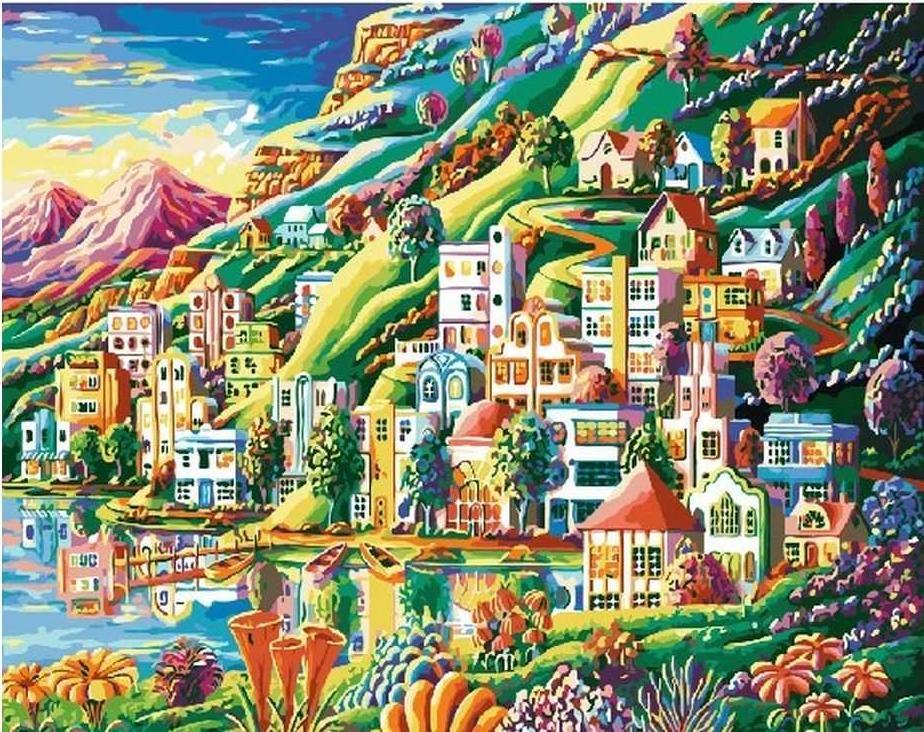 «Волшебный город»Раскраски по номерам Paintboy (Original)<br><br><br>Артикул: GX3048_R<br>Основа: Холст<br>Сложность: средние<br>Размер: 40x50 см<br>Количество цветов: 26<br>Техника рисования: Без смешивания красок