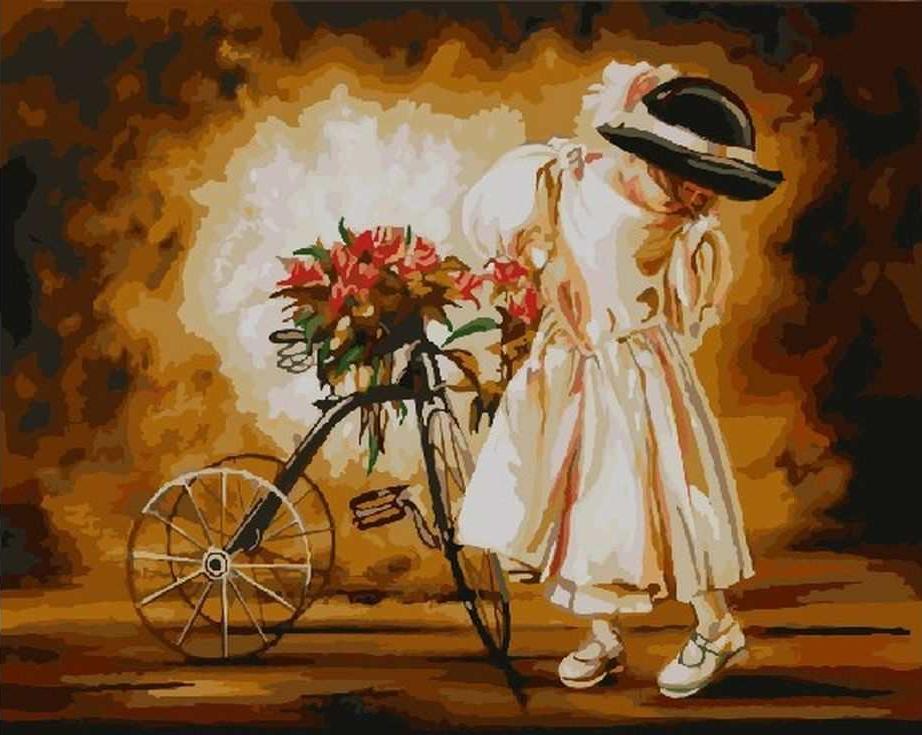 «Девочка с велосипедом»Paintboy (Premium)<br><br><br>Артикул: GX3054<br>Основа: Холст<br>Сложность: средние<br>Размер: 40x50 см<br>Количество цветов: 26<br>Техника рисования: Без смешивания красок