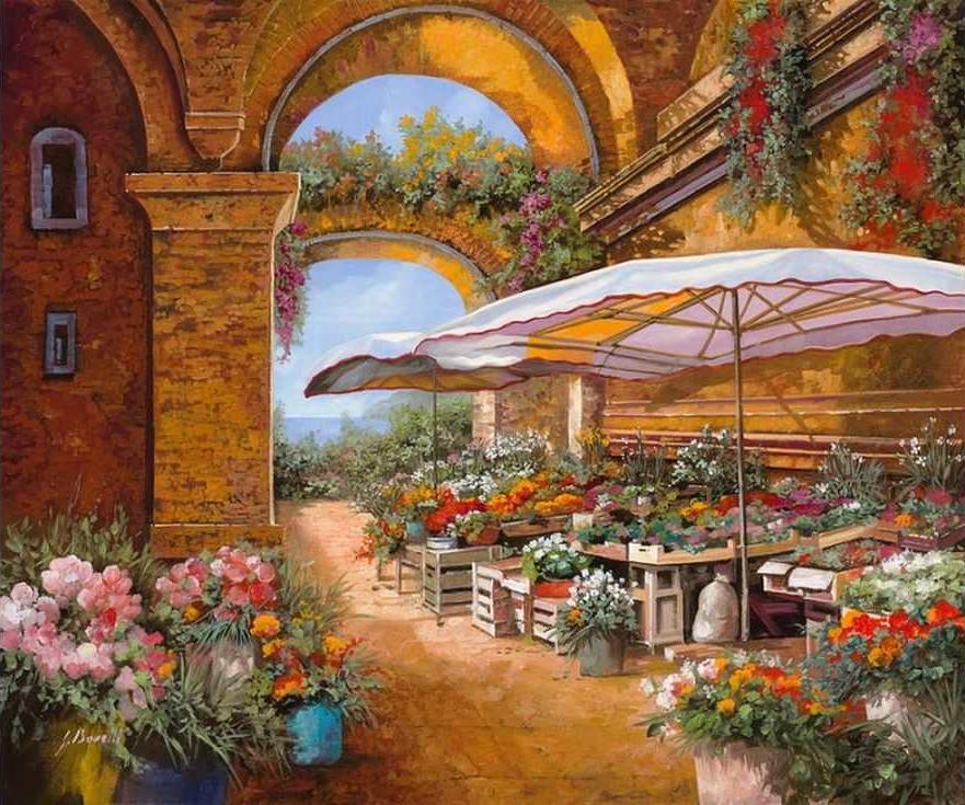 «Цветочный рынок» Гвидо БореллиPaintboy (Premium)<br><br><br>Артикул: GX3060<br>Основа: Холст<br>Сложность: сложные<br>Размер: 40x50 см<br>Количество цветов: 28<br>Техника рисования: Без смешивания красок
