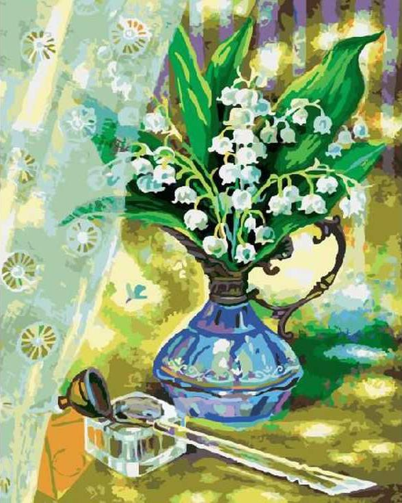 «Ландыши» Тани СытойРаскраски по номерам Paintboy (Original)<br><br><br>Артикул: GX3068_R<br>Основа: Холст<br>Сложность: средние<br>Размер: 40x50 см<br>Количество цветов: 25<br>Техника рисования: Без смешивания красок